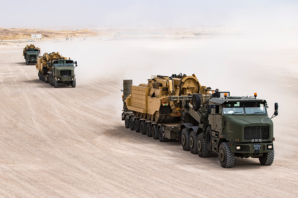 Challenger Armoured Repair and Recovery Vehicle being transported from the Port to the Joint Logistics Support Base in Duqm.