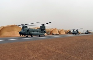 Three RAF Chinook helicopters from RAF Odiham, supported by around 90 British troops, are now fully operational and are supporting French counter-terrorism operations in Mali.