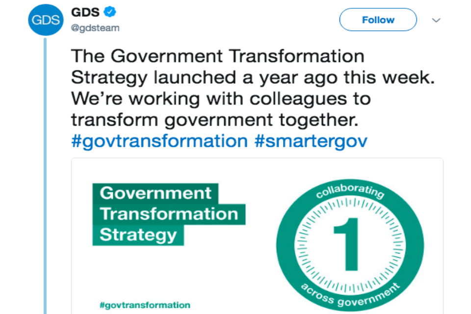 Government Transformation Strategy launch tweet