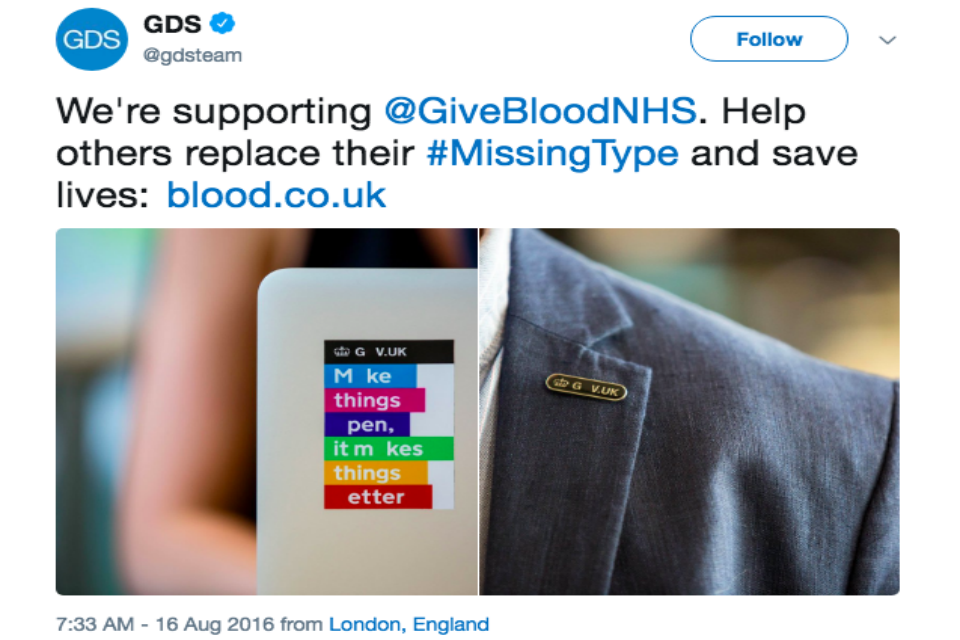 Give Blood NHS tweet