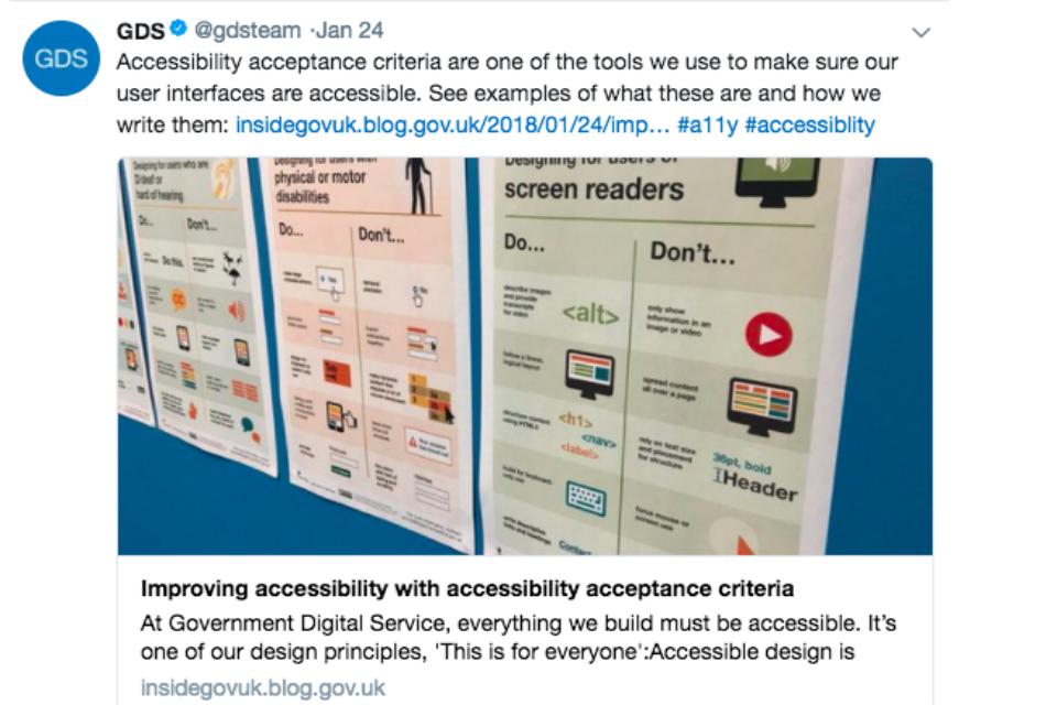 GDS accessibility tweet