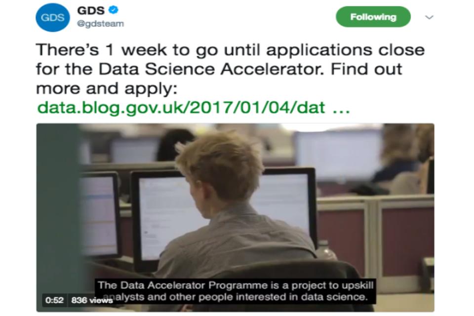 Data science accelerator tweet