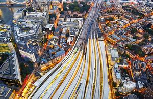 London trains at nighttime