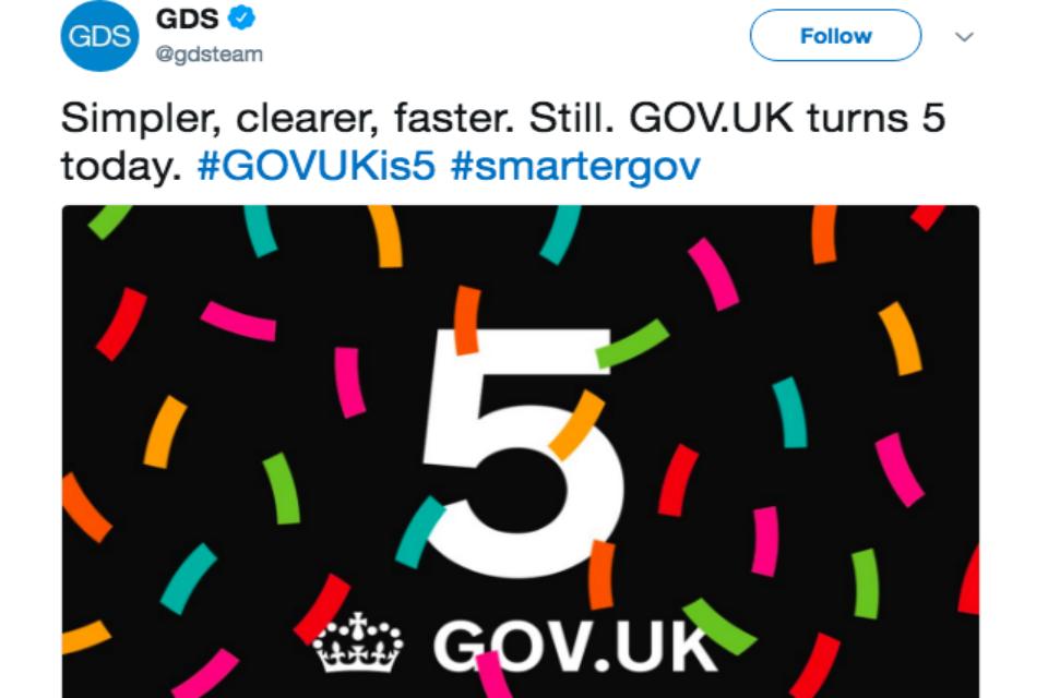 Tweet of GOVUK turns 5 today
