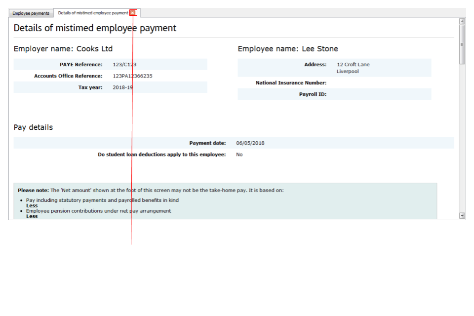 Details of mistimed employee payement