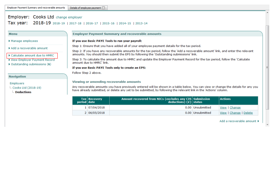 Calculate amount due to HMRC