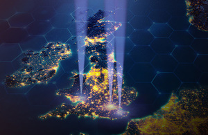 Image of UK map with beams of light coming from Wales, London and Kent