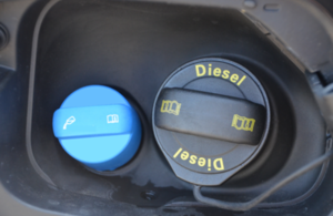 Image of diesel fuel cap and AdBlue cap