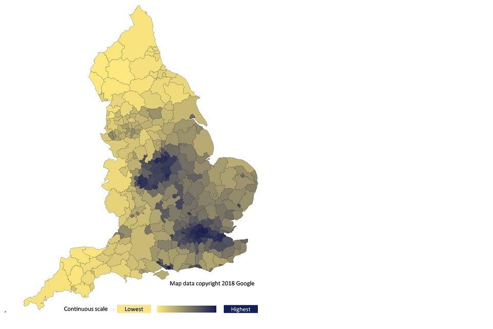 Figure 2: annual concentration of human-made population weighted fine particulate matter (PM2.5), by lower tier local authority, England, 2016