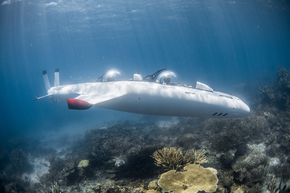 Picture of James Bond style deep flight submarine.