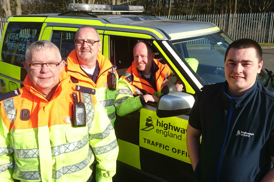 traffic officers from winter road rescue