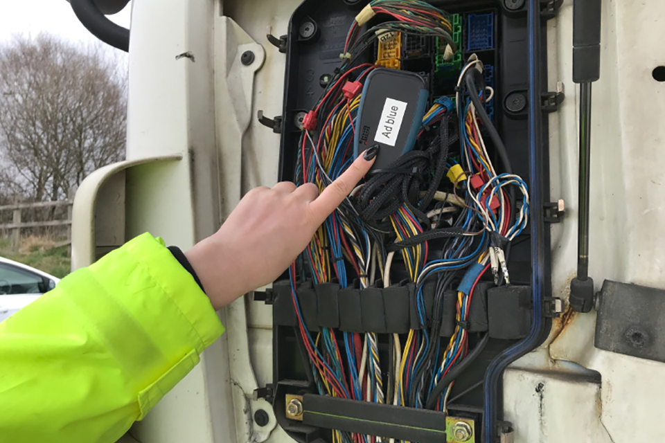 Image of an AdBlue emissions cheat device fitted to a lorry