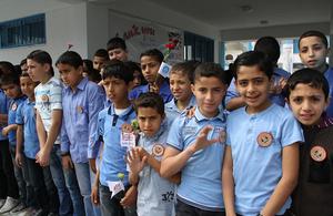 Children attending an UNRWA school in Gaza.