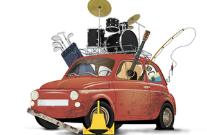 Clamped car overflowing with items