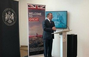 Liam Fox speaking at the Board of Trade in Coventry.