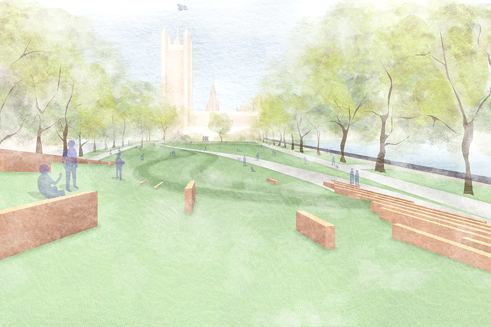Artist's impression of the design for the memorial viewed from the hilltop, near Westminster