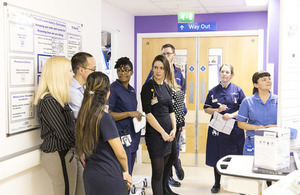 Doctors and nurses chatting in a hospital