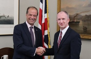UK Trade Policy Minister George Hollingbery and Deputy US Trade Representative Jeffrey Gerrish