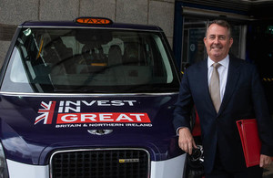 Liam Fox and LEVC electric taxi