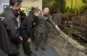 Image shows the Prince of Wales at the new visitor centre