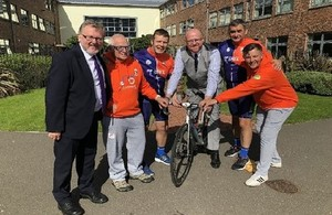 Mr Mundell with the cyclists outside Lockerbie Academy