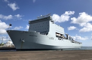 RFA Mounts Bay poised and ready to assist in the Caribbean.