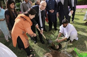 The British Home Secretary Sajid Javid planting a tree at Islamabad College for Girls