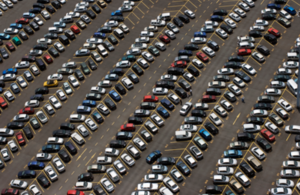 A photograph of a busy car park.