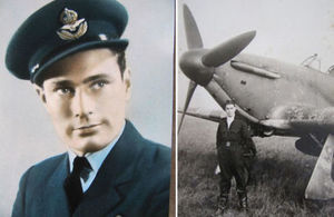 Left Flying Officer David Stein, right Flying Officer David Stein standing in front of a plane, Copyright Stein/Taylor family, all rights reserved