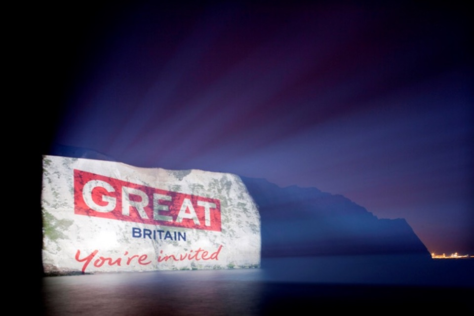 Welcome to GREAT Britain projected on the White Cliffs of Dover