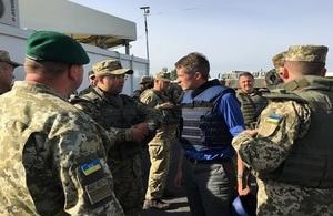 Defence Secretary Gavin Williamson meets troops in Ukraine.