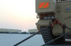 Armoured and non-armoured vehicles at the UK Joint Logistics Support Base in Duqm, Oman MOD Crown Copyright