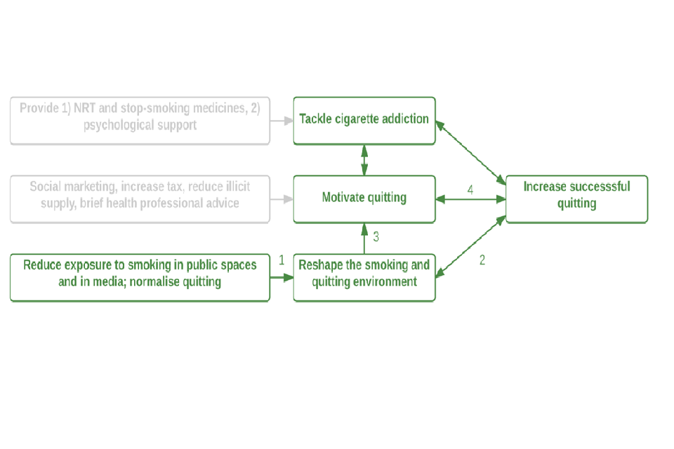 Diagram showing how promoting smokefree homes and cars can promote successful quitting
