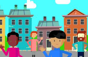 Cartoon of flat management residents.