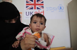 A child receiving nutritional supplements in Yemen