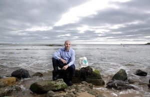 Marine biologist and wild-seaweed harvester Dr Craig Rose poses on the Whitley Bay coast.