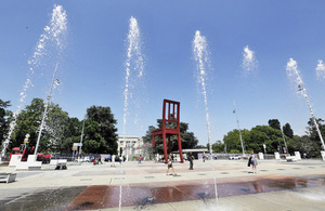 chair and water jets UN Geneva