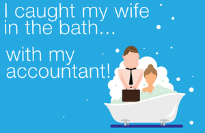 Graphic of wife in the bath with accountant.