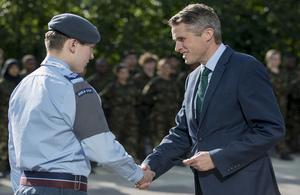 Defence Secretary Gavin Williamson visits cadets at Aston University Engineering Academy