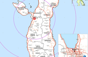 Map showing the area affected by the earthquake and tsunami in Indonesia