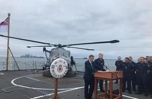 Defence Secretary Gavin Williamson speaking on HMS Montrose.
