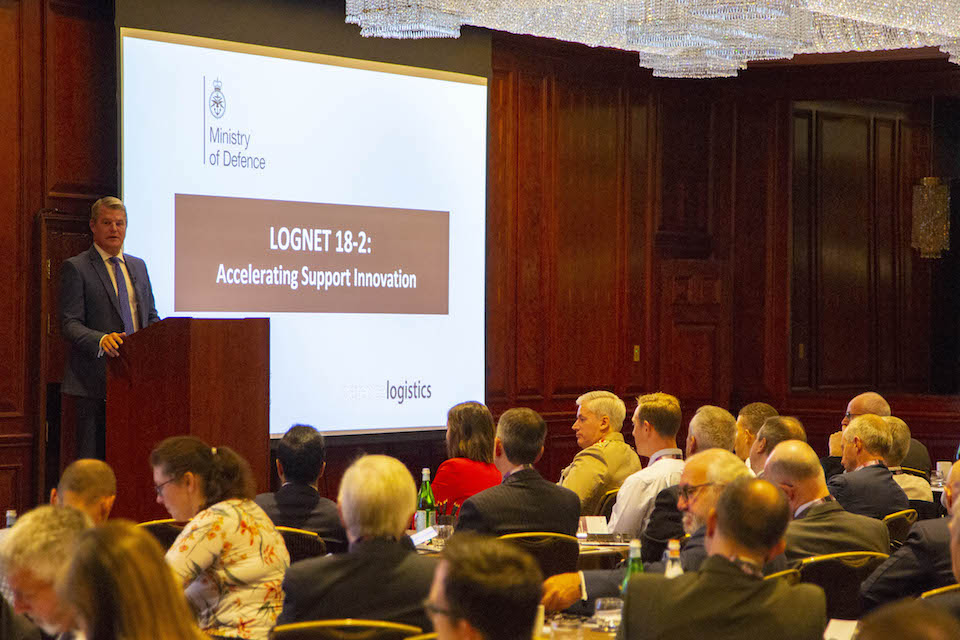 Defence Minister Stuart Andrew opens the LOGNET conference.