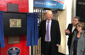 Chris Grayling at Lime Street Station, Liverpool