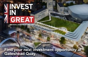 A CGI illustration of one of the investment projects in Gateshead - with supporting Invest In GREAT branding