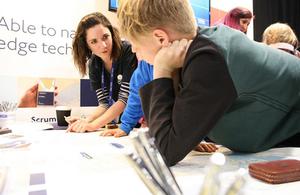 A UKHO STEM Ambassador talking to the public at the Big Bang Fair, Weston Super-Mare