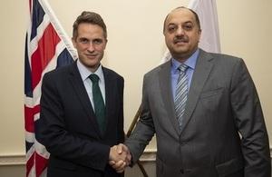 Defence Secretary Gavin Williamson shakes hands with His Excellency Khalid bin Mohammad Al Attiyah