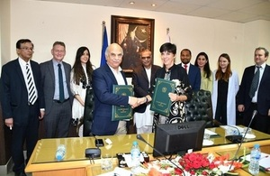 Joanna Reid, Head of DFID Pakistan and Mohammad Jehanzeb Khan, Chairman of the FBR at the occasion of MOU signing.