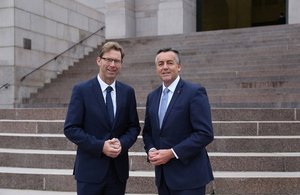 Minister for Defence People and Veterans Tobias Ellwood meets with Darren Chester, Australian Minister for Veterans' Affairs and Defence Personnel.