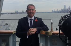 International Trade Secretary Dr Liam Fox on board the HMS Queen Elizabeth.