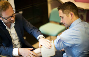 Patient receiving a blood pressure test